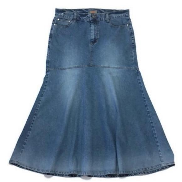 Elite Jeans Dresses & Skirts - Modest Maxi Denim Skirt 15/16 Mermaid 35W 37L
